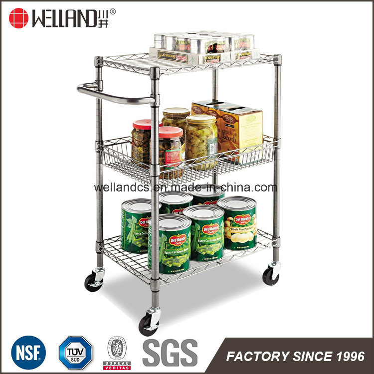 NSF 3 Tiers Chrome Metal Kitchen Trolley / Rolling Cart / Utility Cart