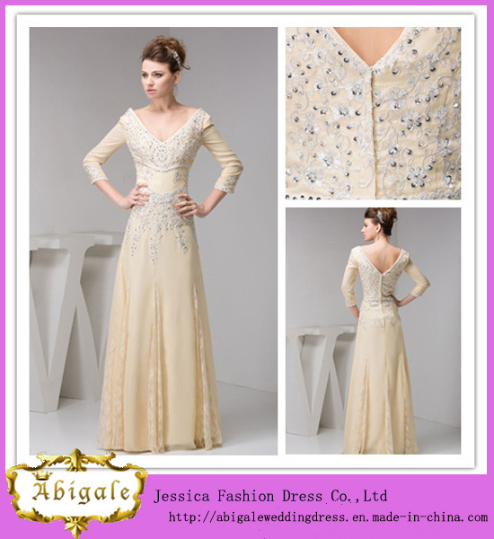 China Different Style Chiffon with Lace and Appliques Beads V Neck ...