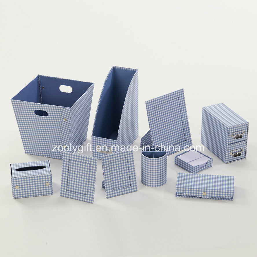 Stripe Printed Paper Cardboard Desktop Organizer Office Stationery Set