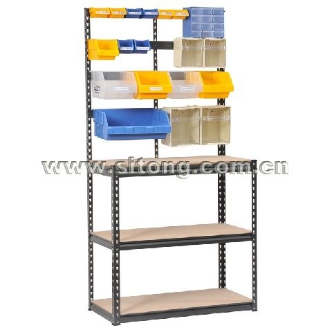 Z-Beam Rivet Locked Five-Shelves Baked Enamel Finished Steel MDF Storage Rack or Workbench