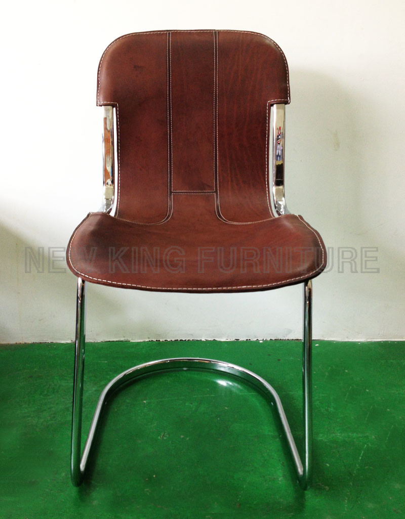 Modern Cheap European Style Chrome Steel Foot PU Leather Dining Chair (NK-DC027)