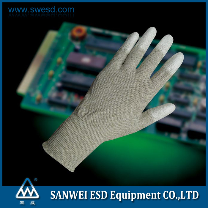 ESD Antistatic Carbon Fiber PU Finger Coating Top Fit Glove