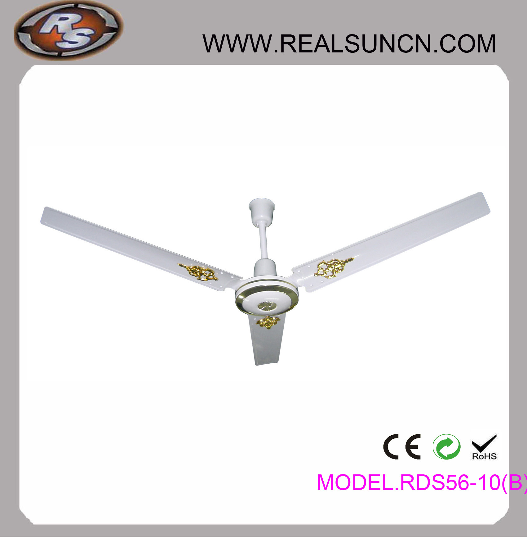 56inch Ceiling Fan with Golden Decoration Model No. Rsd5610b