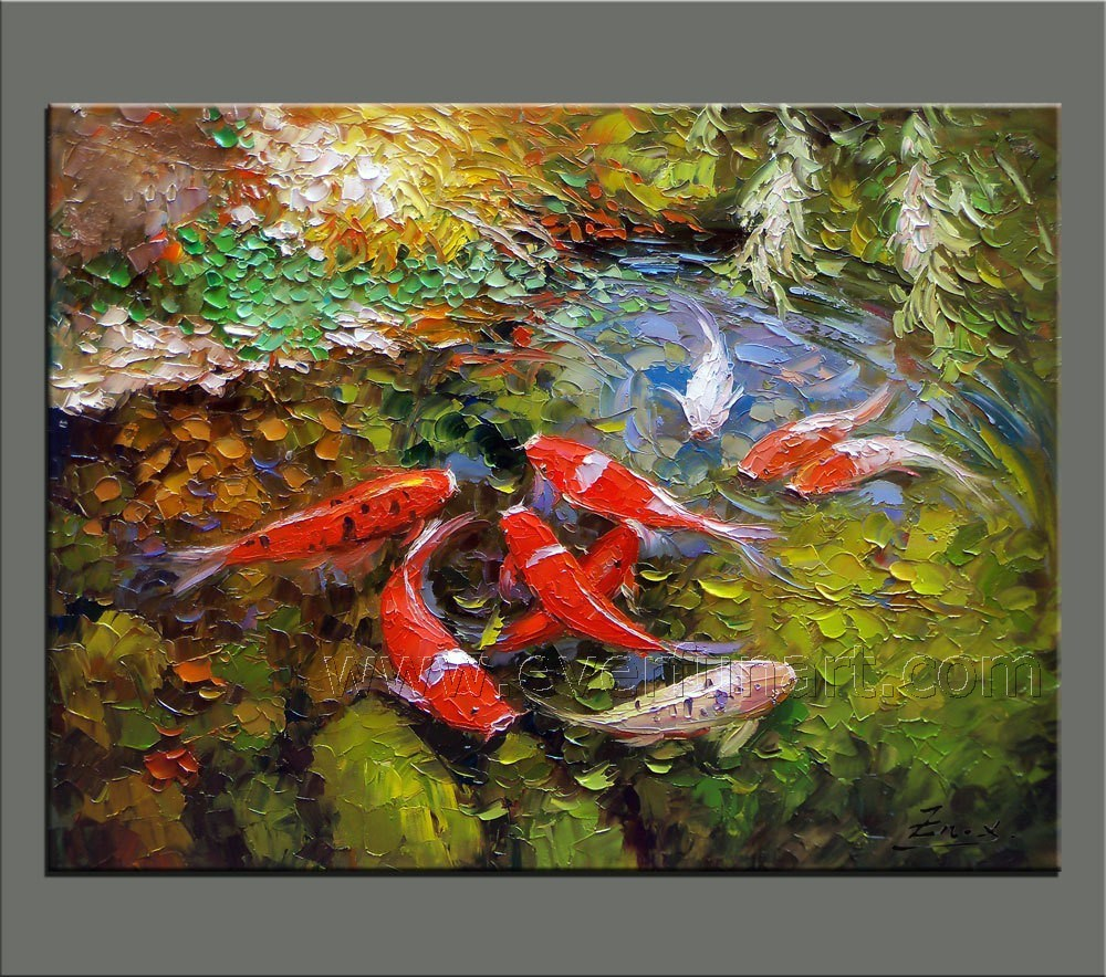 China modern handmade koi fish painting on canvas for for Koi artwork on canvas