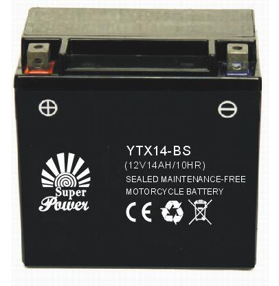 Sealed Maintenance Free Motorcycle Battery 12V 14ah in High Starting Performance with CE UL Certificate