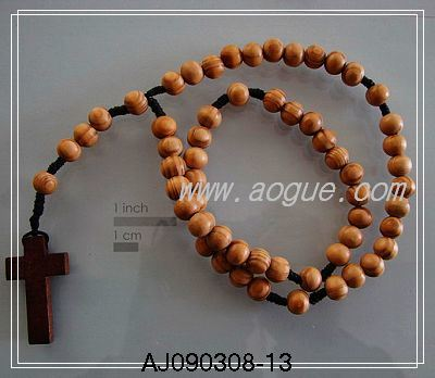 Wooden Bead Cross Necklaces on Wood Beads Rosary Necklace  Aj090308 13    China Rosary Necklace  Wood