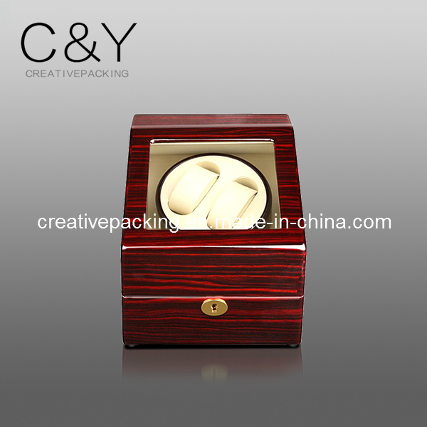 High-Gloss Wooden Watch Winder Box with Cherry Grainy Paper