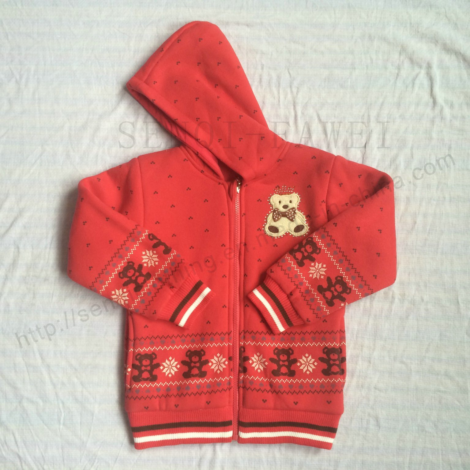 Fashion Red Girl Hoodies Clothes in Kids Sport Coat Sq-6711