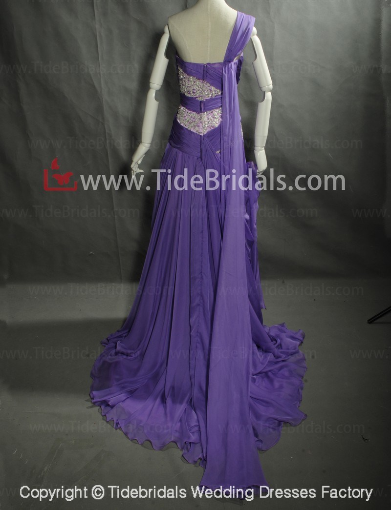 2014 Purple Crystals Long Party Evening Dress/Prom Dress (AS5227)