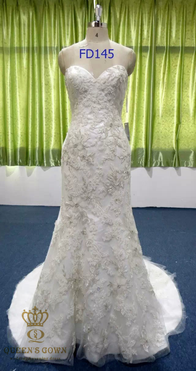 Bridal Gown with Bead Lace High Quality