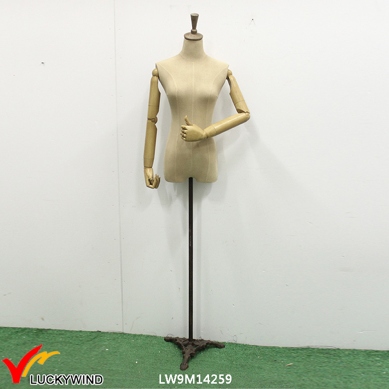 Vintage Wood/Metal Half Body Torso Female Mannequin