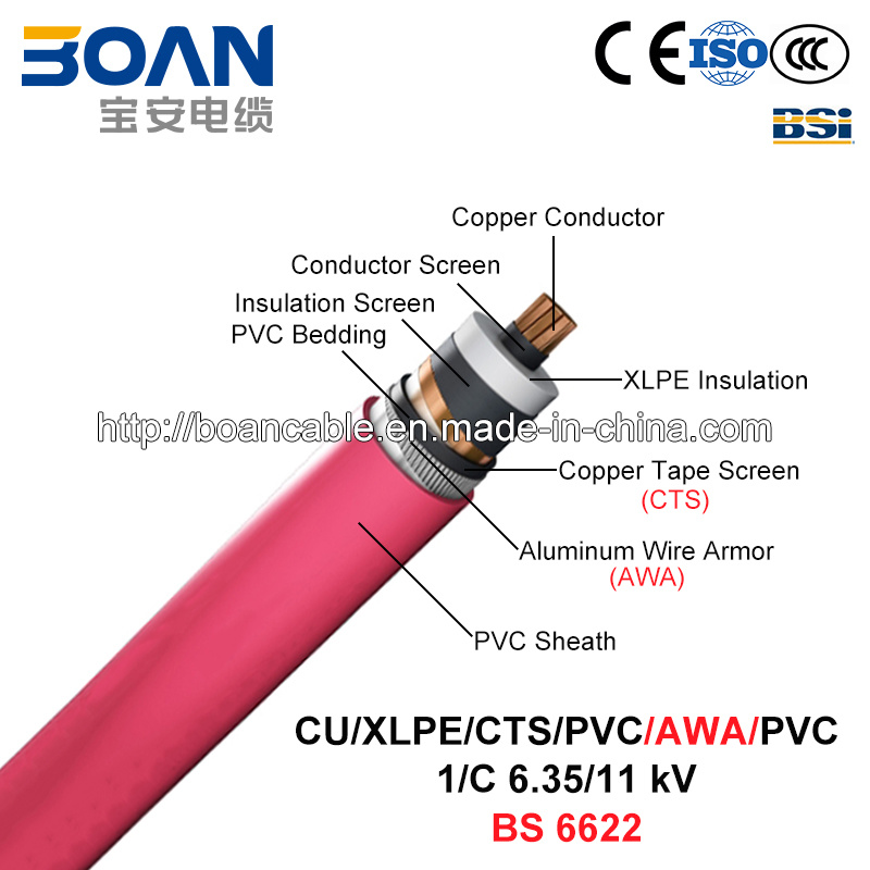 Cu/XLPE/Cts/PVC/Awa/PVC, Power Cable, 6.35/11 Kv, 1/C (BS 6622)