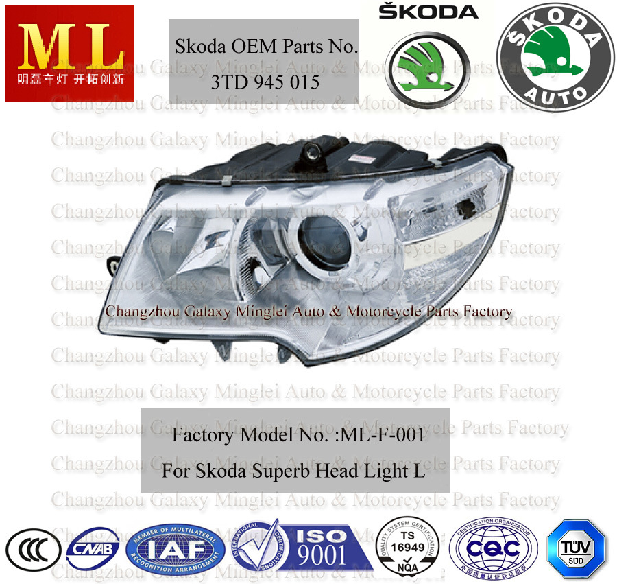 Auto Head Lamp for Skoda Superb From 2008 (3T1 941 017)