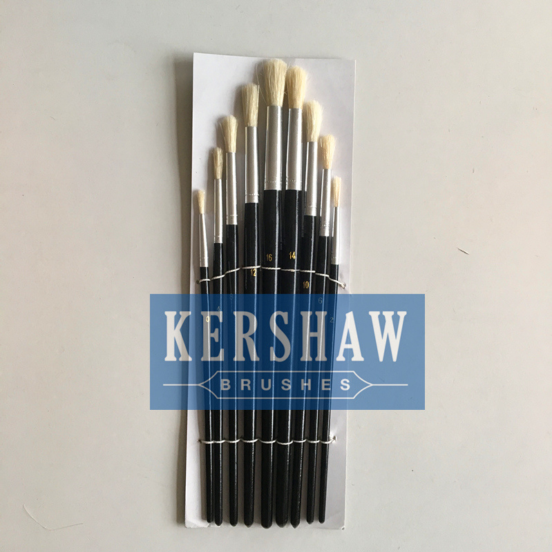 Artist Brush (ARTIST PAINTING BRUSH ROUND HEAD 9-PCS SET, blanch white bristle and wooden handle)