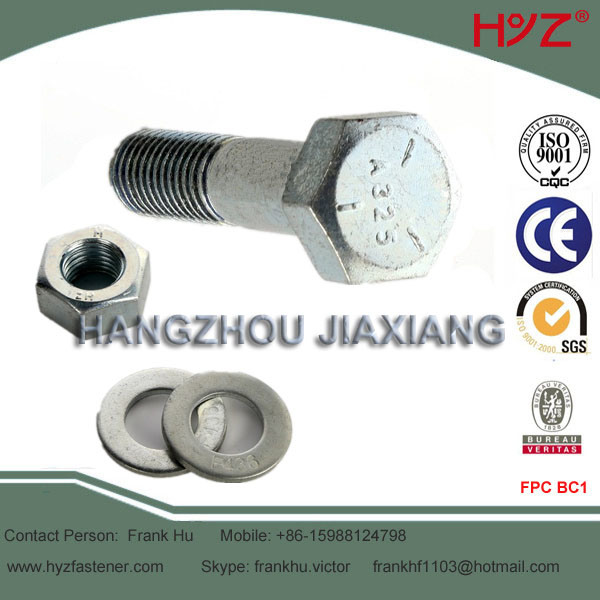 8.8 Grade Cold Galvanized A325 Bolt with Nut and Washer