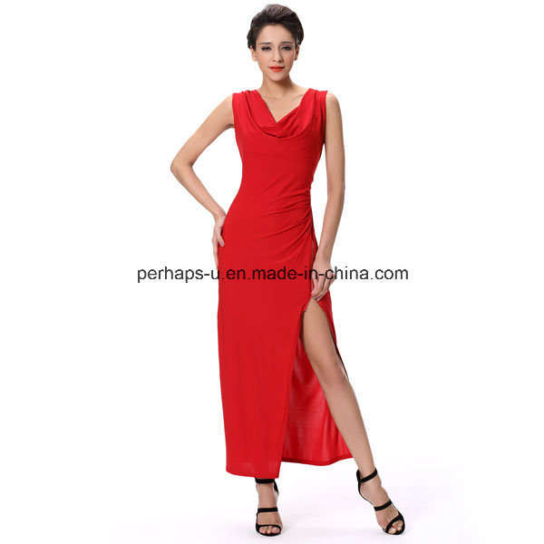 Fashion Red Night Evening Sexy Long Dress Sleeveless Ladies Wear