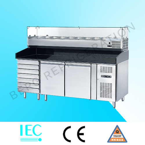High Quality Stainless Steel 3 Door Pizza Refrigerator Counter