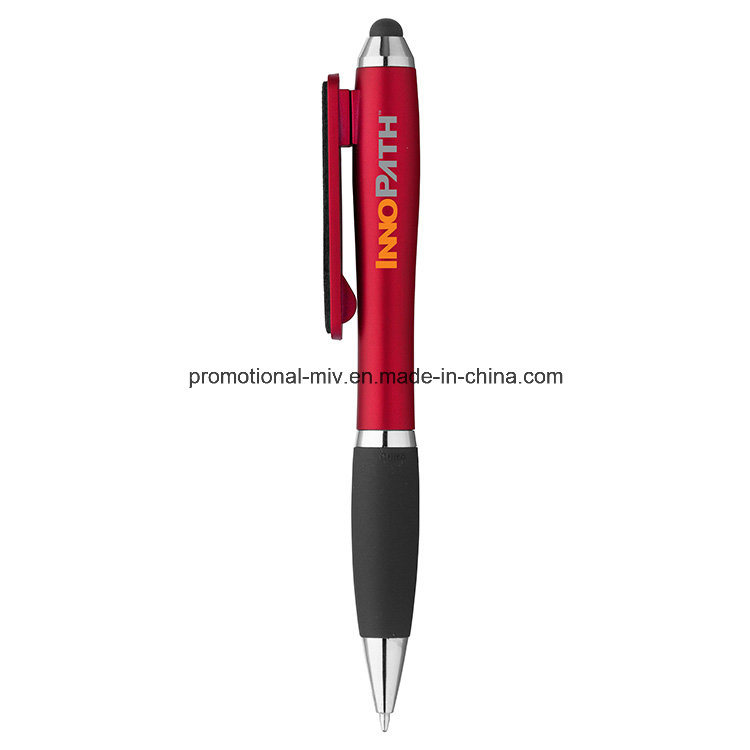 Colorful Stylus Twist Pen with Screen Cleaner for Promotion