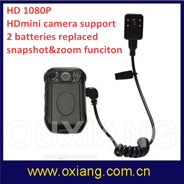 HD 1080P 2 Inch Screen Waterproof IP56 Infrared Night Vision Police Body Mini DVR with Camera