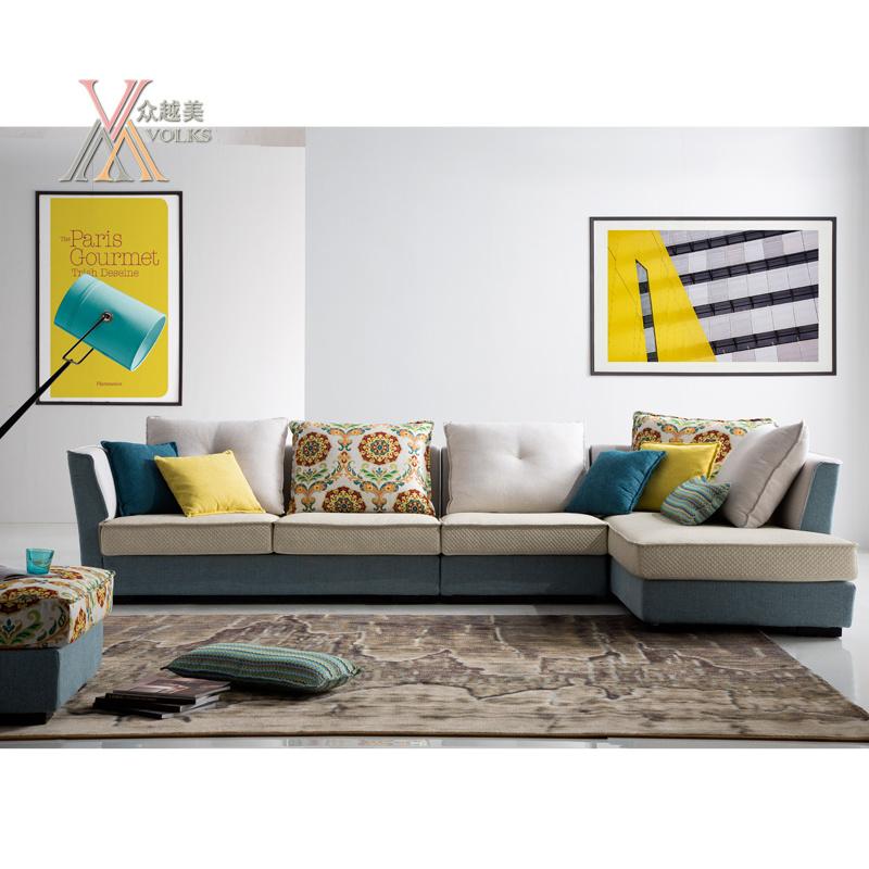 Fabric Sofa with Colorful Cushion (1613)