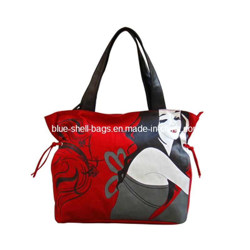 Fashionable Canvas Ladies Handbag with PU Leather (BS1014)