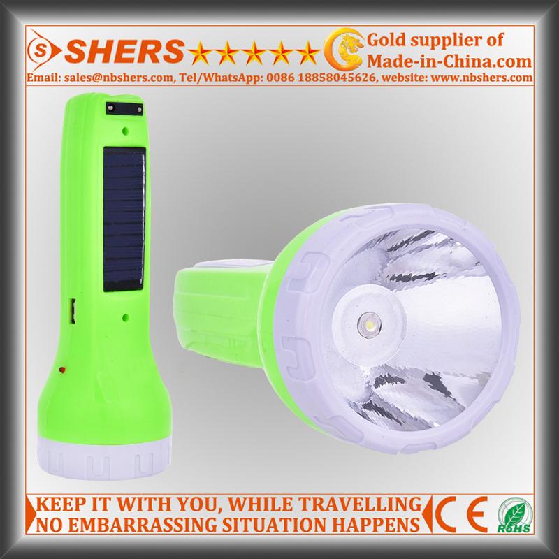 Solar 1W Flashlight for Hunting with Reading Lamp, USB (SH-1929)
