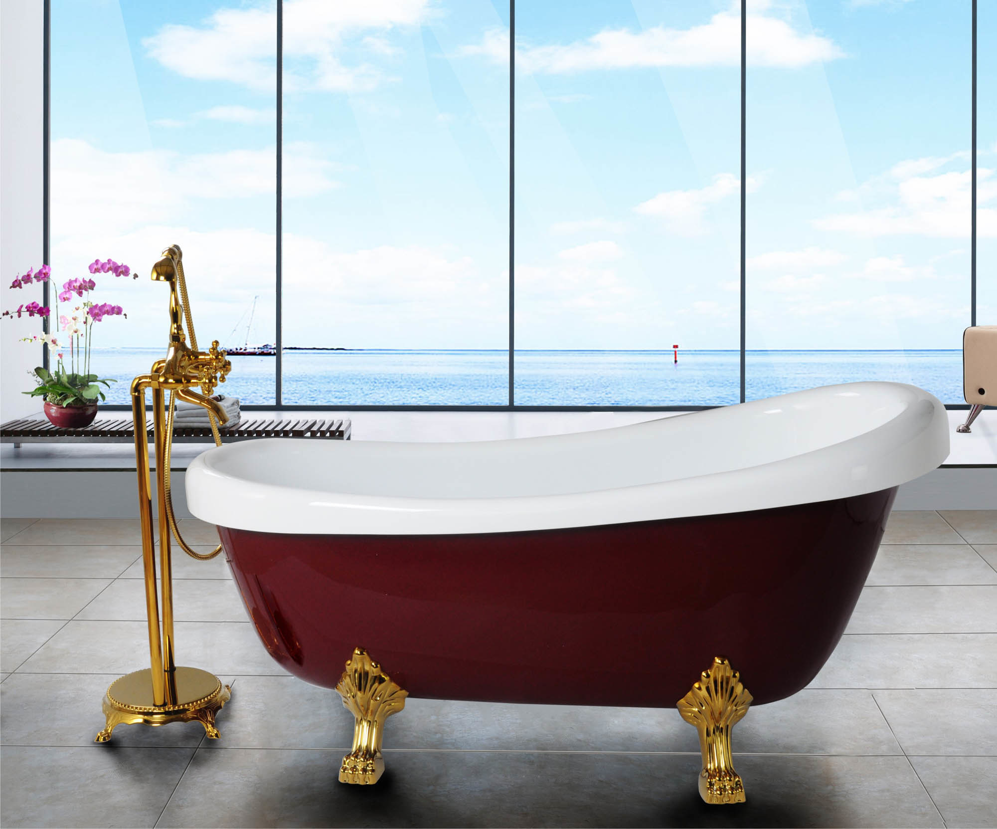 China The Red Royal Acrylic Bathtub With Legs Bf 6619