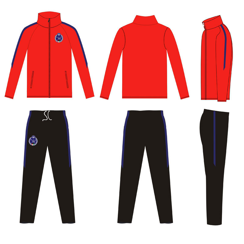 Solid Colors Dye Sports Wear Tracksuit Ambroidered Logo for Soccer Clubs