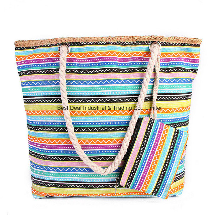 The New Beach Bag Ladies Bag Colorful High-Capacity Canvas Bag out Carrying a Handbag with Small Change Packets