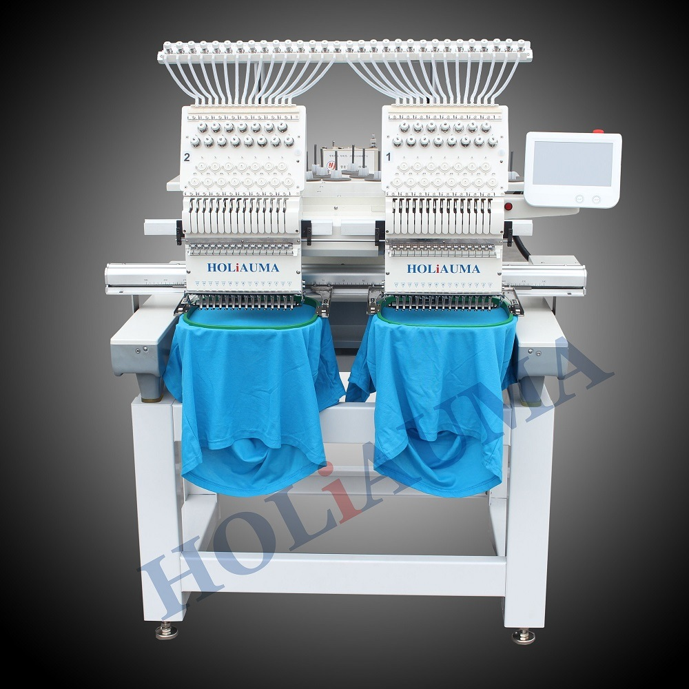 2 Heads Flat+Cap+Finished Garments China Embroidery Machine