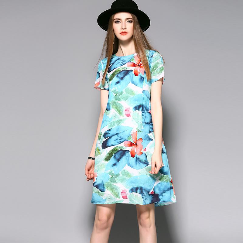 Short Sleeve Soft Light Sweet Silk Party Women Lady Dress Clothing