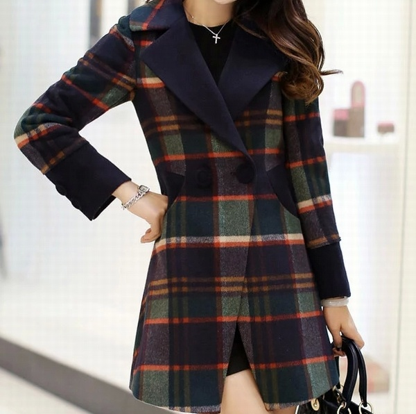 Long Sleeve Elegant Check Ladies Long Wool Coat