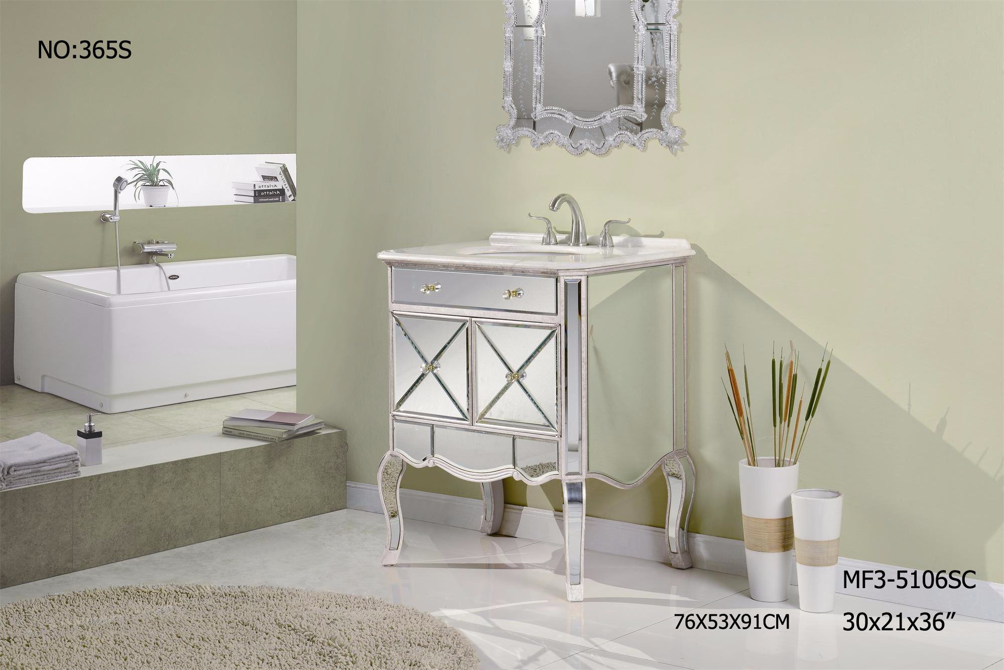2017 New Mirrored furniture Bathroom Vanity
