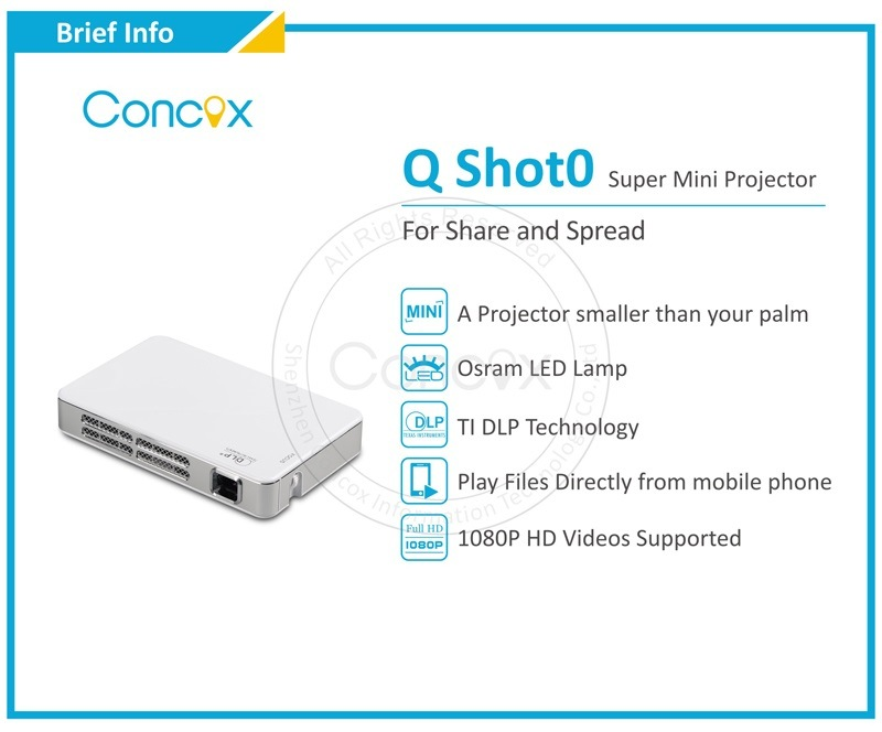 Mini LED Projector for iPhone iPad Android Phones and Tablets