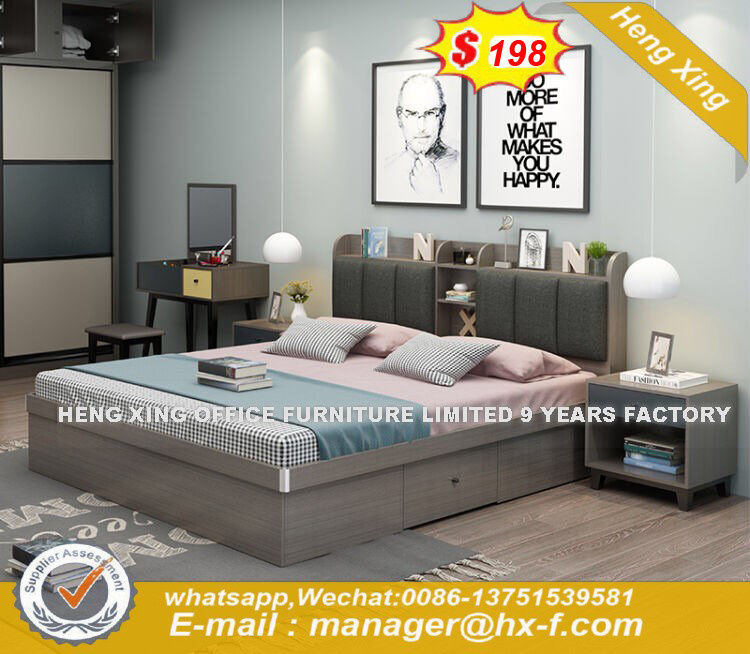 Wooden Wardrobe Night Stand Bed Room Furniture Sets (HX-8ND9535)