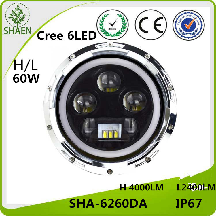 H/L LED Car Headl Ight for Jeep 60W 7 Inch