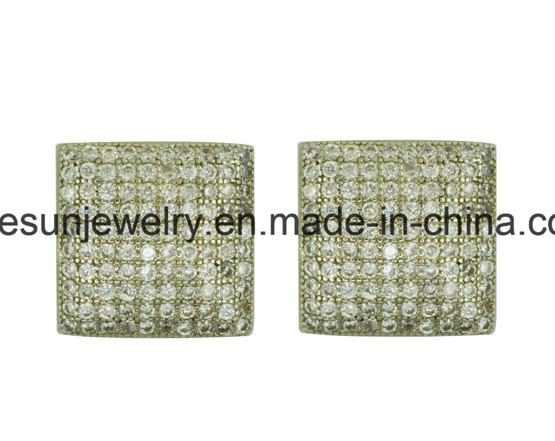 Sterling Silver Jewelry Micropave Stud Earring with Different Shape