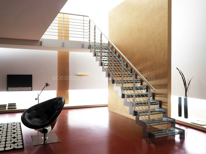 Double Steel Plates Stairs Laminated Tempered Glass Tread Staircase Residential Building