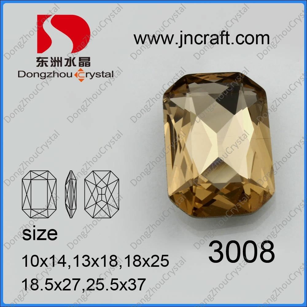 Light Smorked Octagon Crystal Stone Jewelry Findings