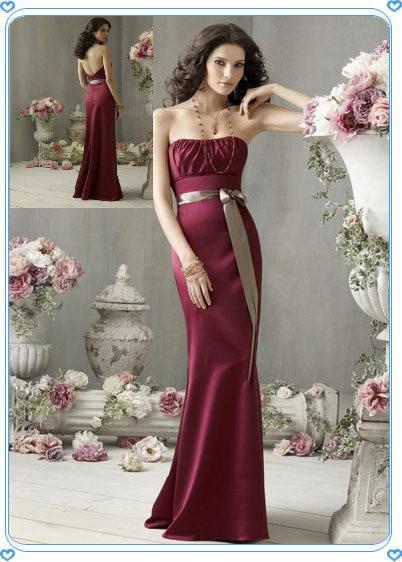 Maxi Burgundy Evening Dress Backless Graceful