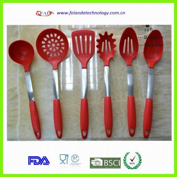 China 6pcs set red fashion pretty silicone kitchen tools for Kitchen tool set of 6pcs sj