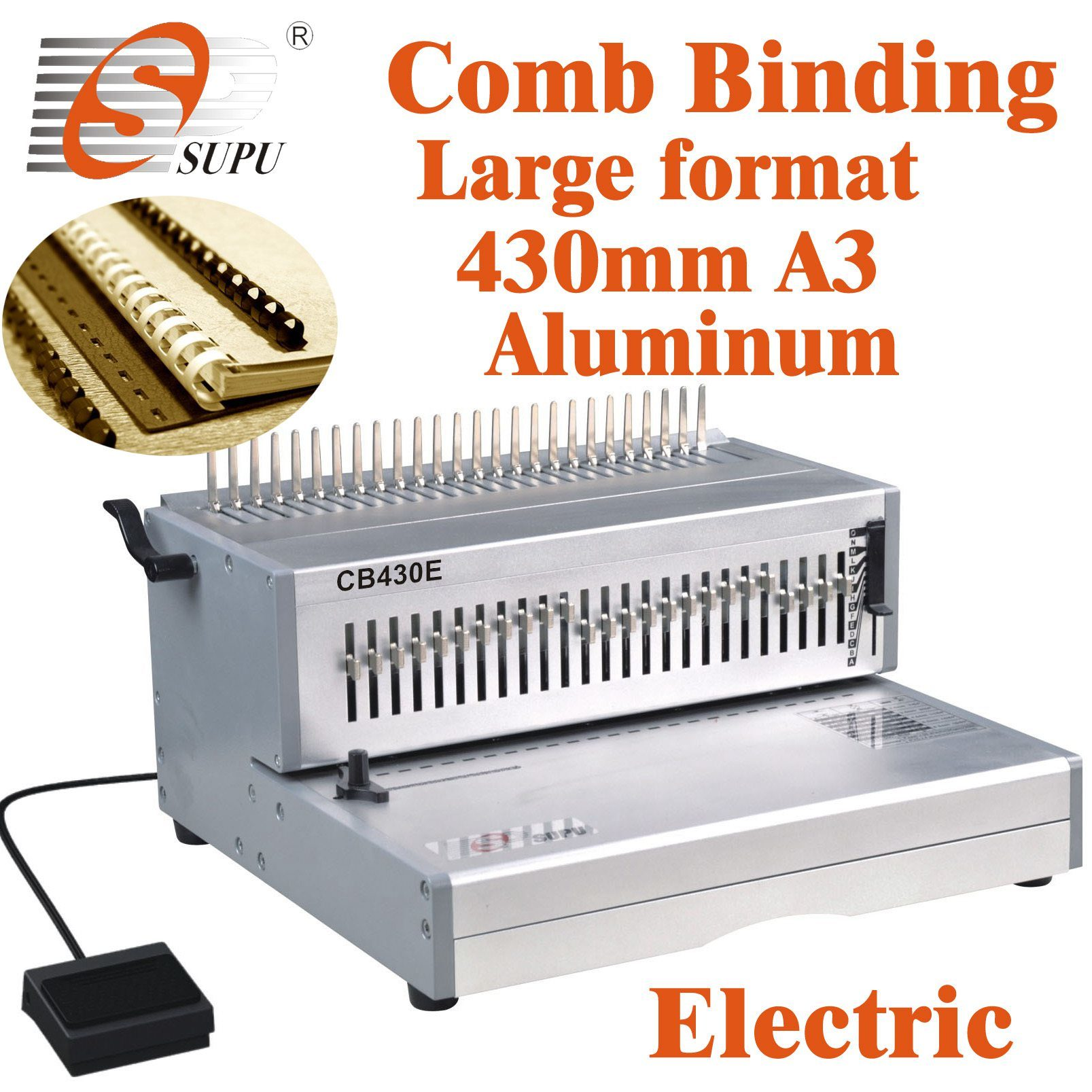 China Electric Large Size Comb Binding Machine For Book
