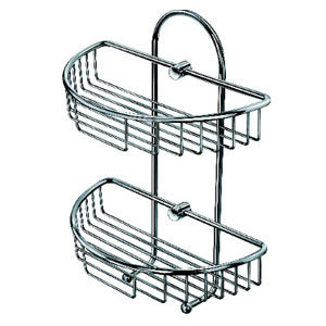 Semicircular Double Tier Brass Bathroom Shelf (ZW-585)