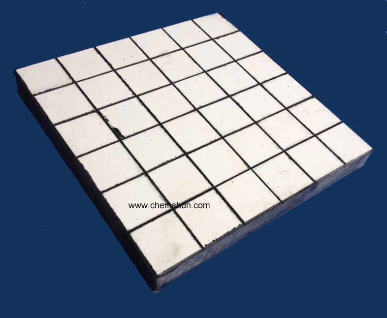 Impact Resistant Wear Ceramic Liner Vulcanized Hexagonal Tile (500*500mm)