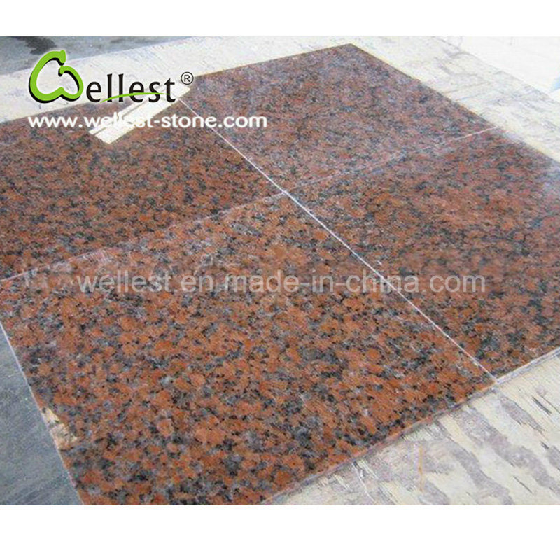 China Natural Polished Surface G562 Red Granite for Wall Cladding 600X600 Tile