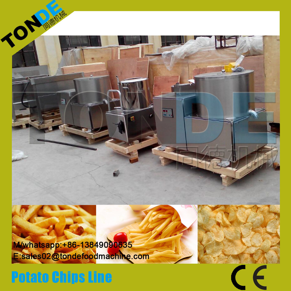 Semi Automatic Stainless Steel Electric Potato Chips Making Line