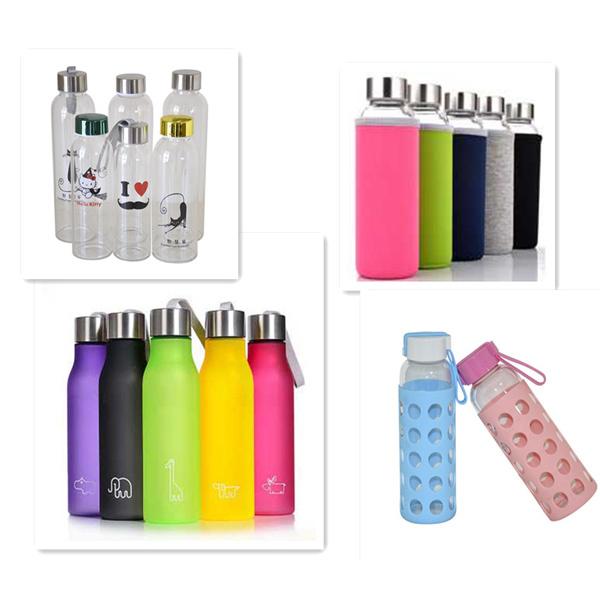 High Borosilicate Glass Water Bottle with Customized Unique Neoprene Sleeve 360ml/420ml