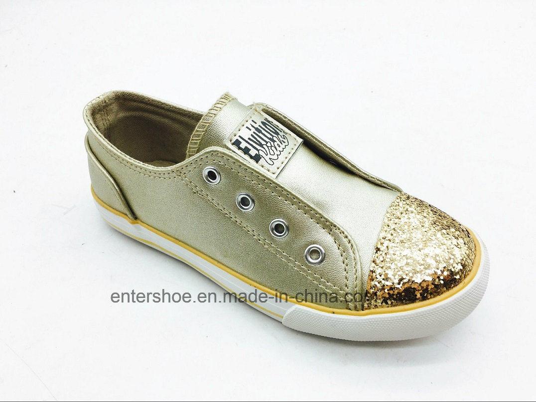 Gold Color Kids Fashion Shoes with Big Elastic (ET-LH160265K)