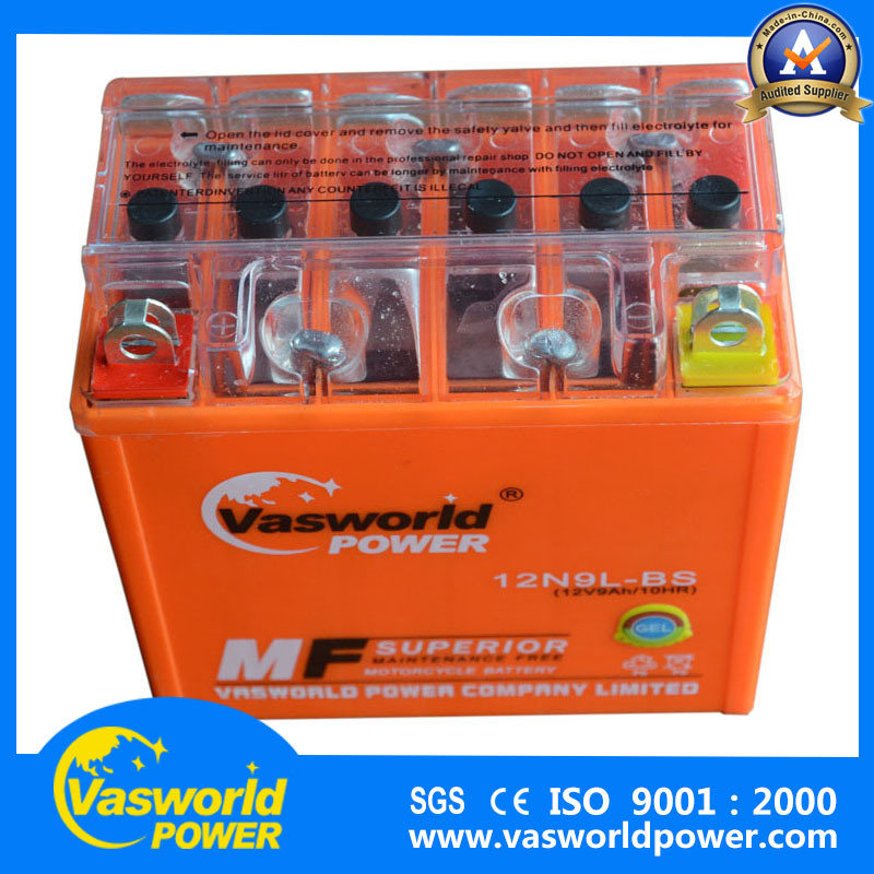 Maintenance Free Gel Motorcycle Battery Manufacture 12n9l-BS 12V9ah Motorcycle Battery