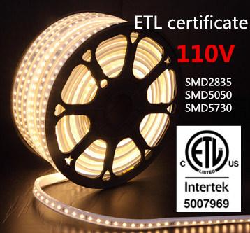 ETL Certificate 110V 5050SMD Waterproof ETL LED Strip Light